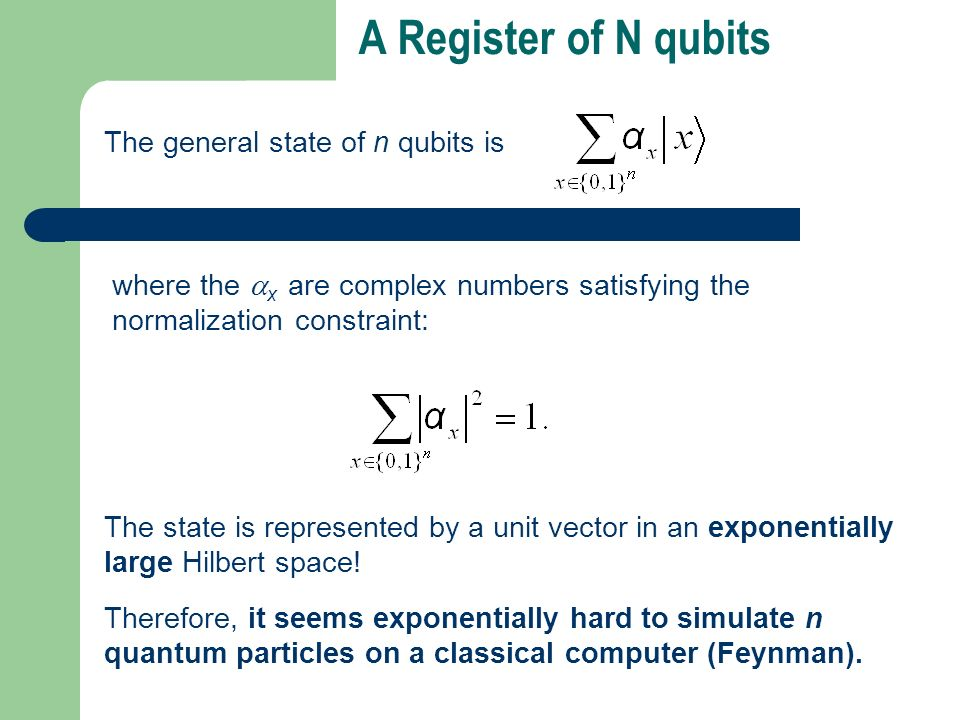 A Register of N qubits The general state of n qubits is