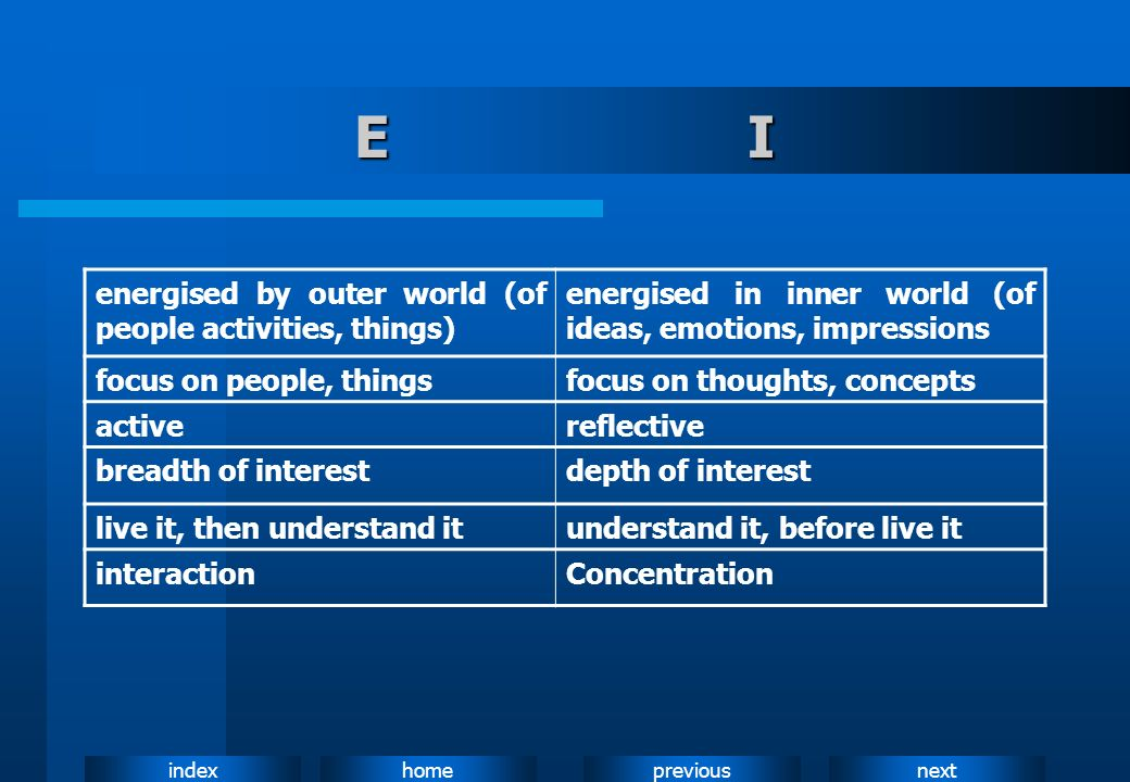 E I energised by outer world (of people activities, things)