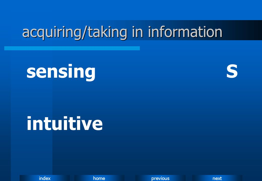 acquiring/taking in information