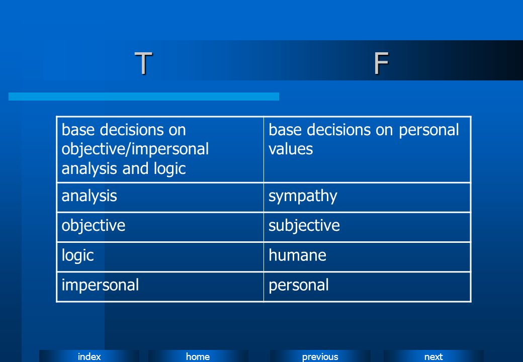 T F base decisions on objective/impersonal analysis and logic