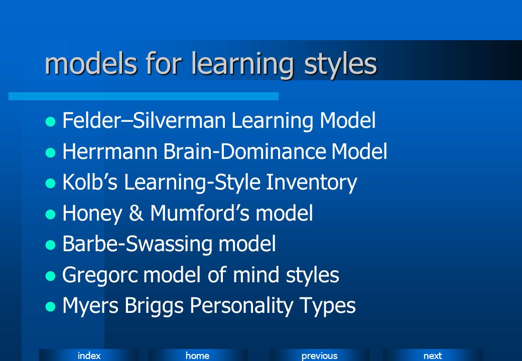 models for learning styles