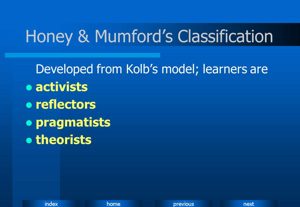 Honey & Mumford's Classification