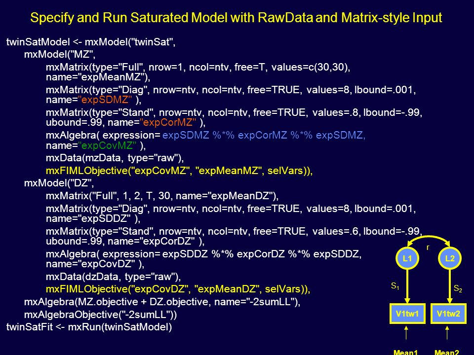 Specify and Run Saturated Model with RawData and Matrix-style Input