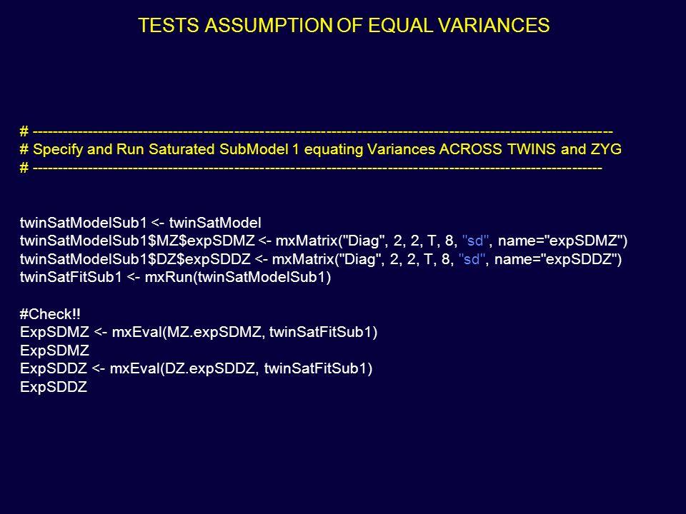 TESTS ASSUMPTION OF EQUAL VARIANCES