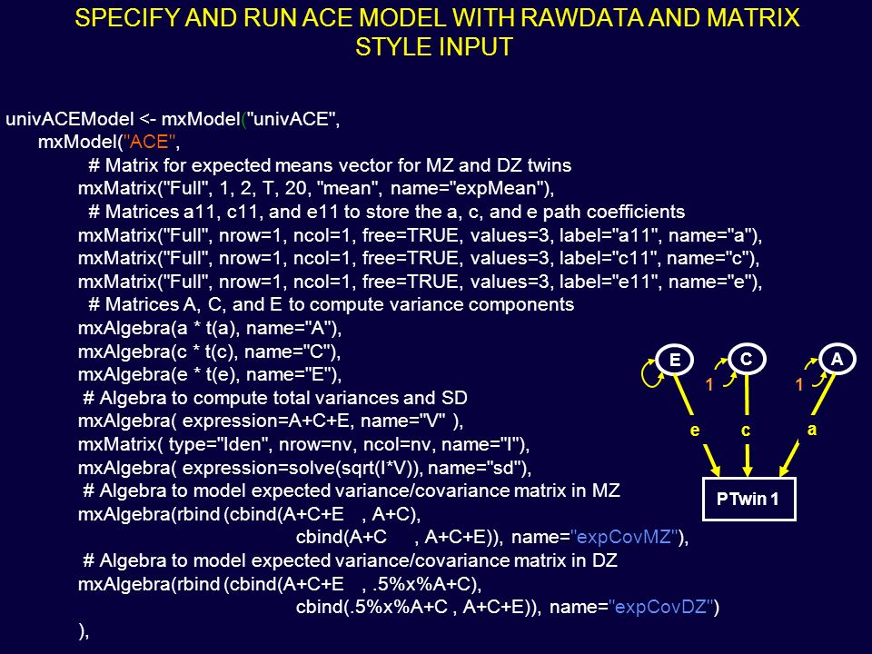 SPECIFY AND RUN ACE MODEL WITH RAWDATA AND MATRIX STYLE INPUT