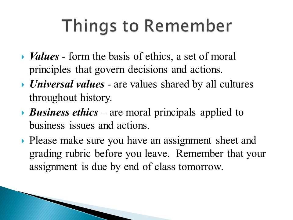 the principles of moral business values business essay Ethics is a subject of social science that is related with moral principles and social values 'business ethics' can be termed as a study of proper business policies and practices regarding potentially controversial issues, such as corporate governance, insider trading, bribery, discrimination.