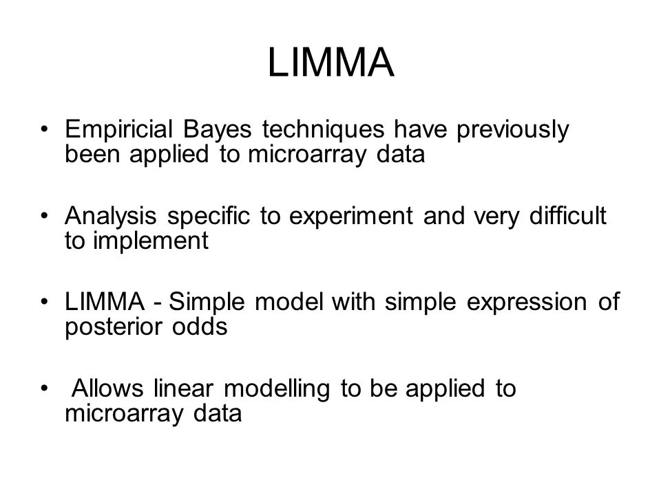 LIMMA Empiricial Bayes techniques have previously been applied to microarray data. Analysis specific to experiment and very difficult to implement.
