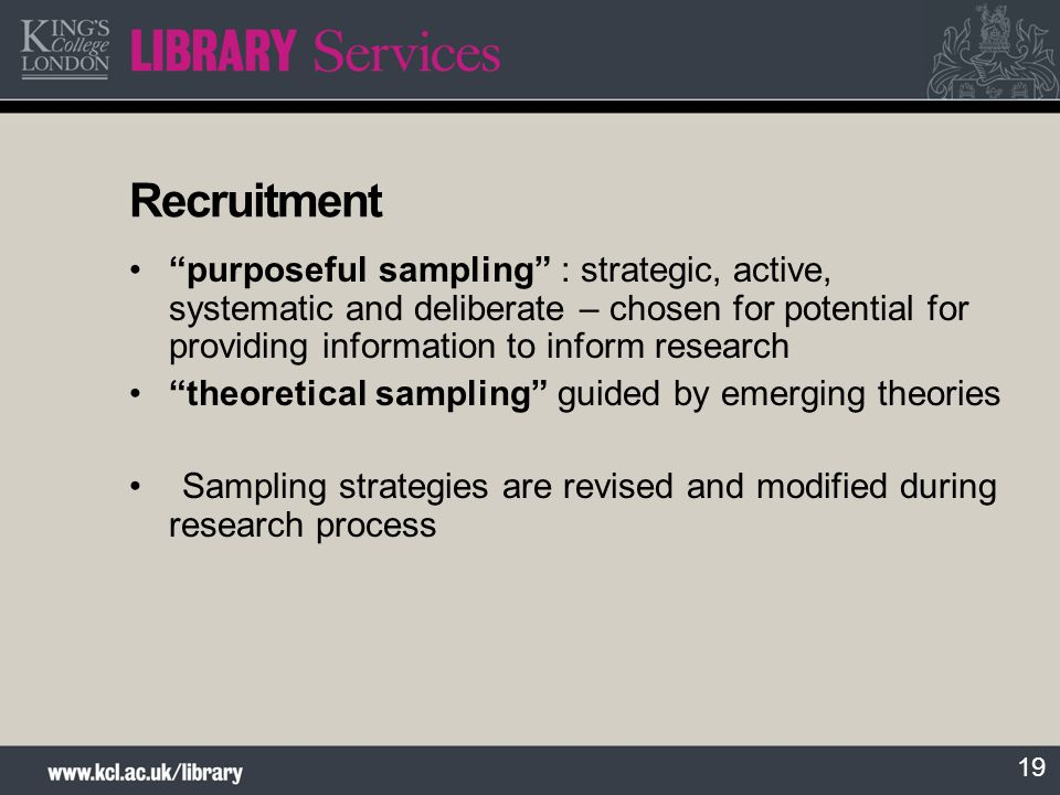 Recruitment purposeful sampling : strategic, active, systematic and deliberate – chosen for potential for providing information to inform research.