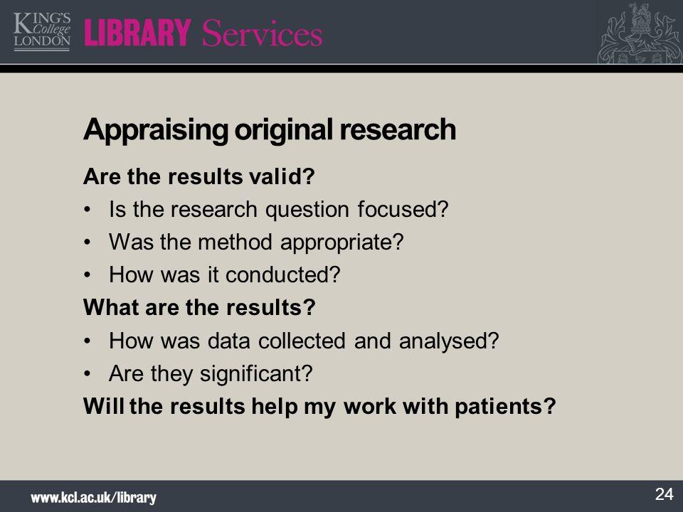 Appraising original research