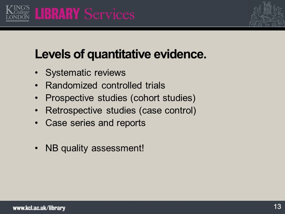Levels of quantitative evidence.