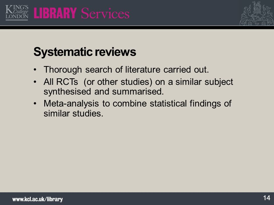 Systematic reviews Thorough search of literature carried out.
