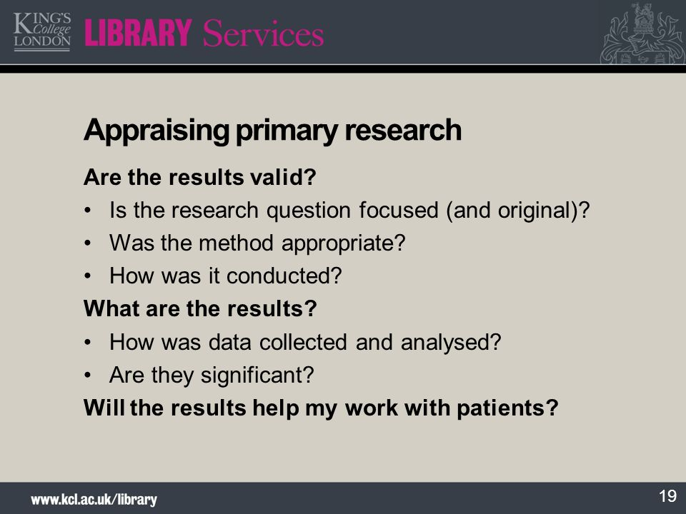 Appraising primary research