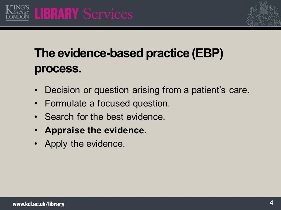 The evidence-based practice (EBP) process.