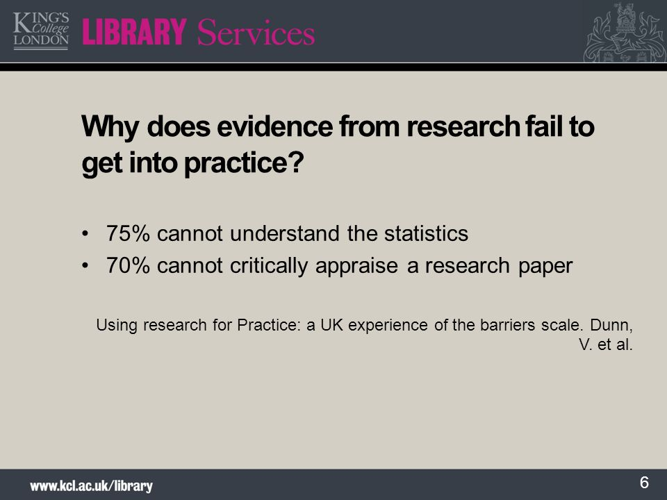 Why does evidence from research fail to get into practice