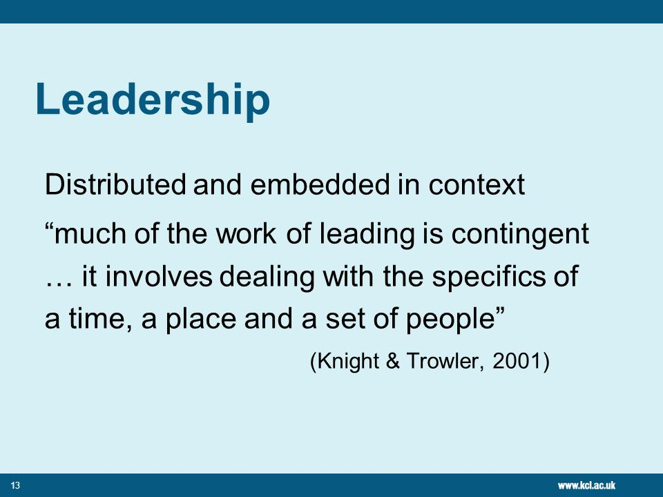 Leadership Distributed and embedded in context