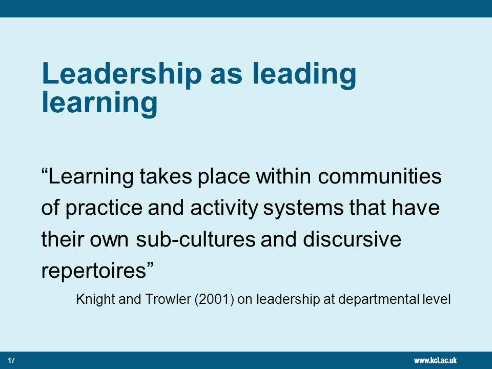 Leadership as leading learning