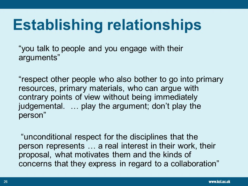 Establishing relationships