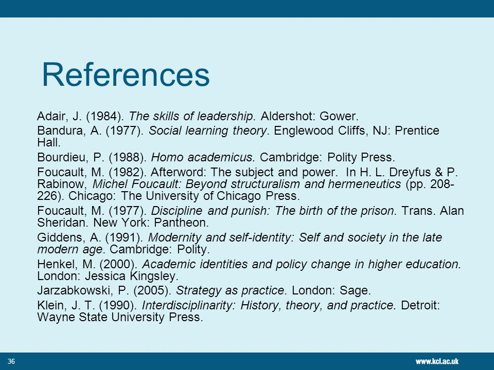 References Adair, J. (1984). The skills of leadership. Aldershot: Gower.