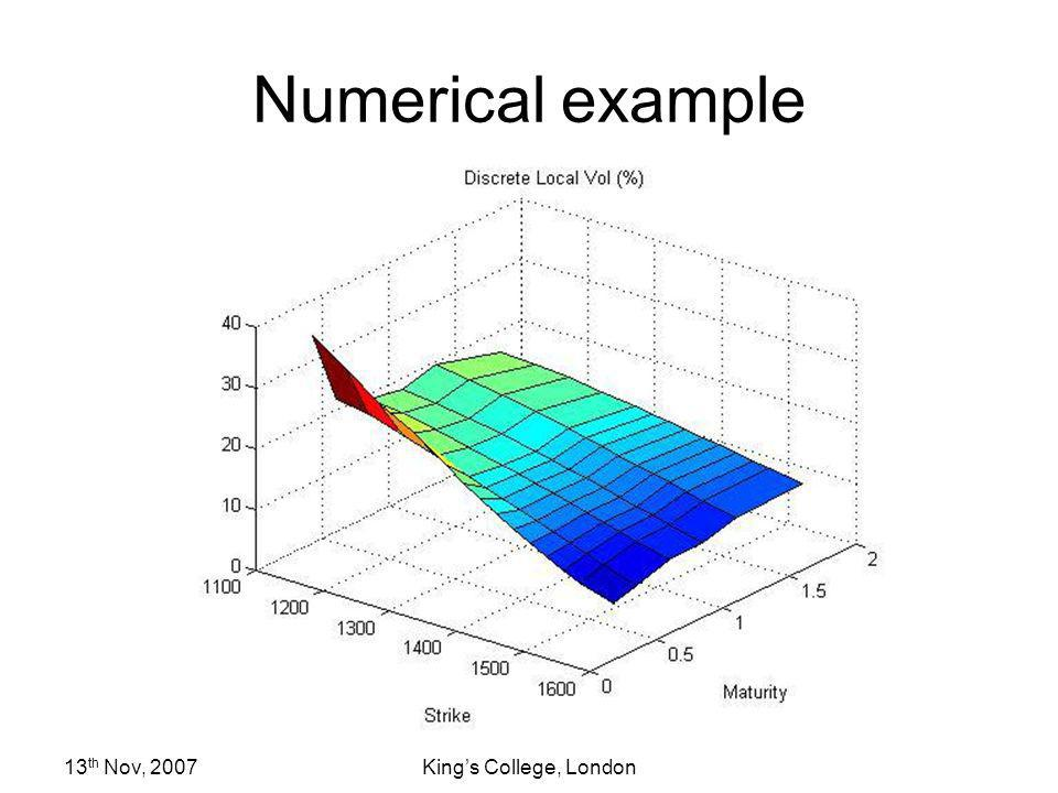 Numerical example 13th Nov, 2007 King's College, London