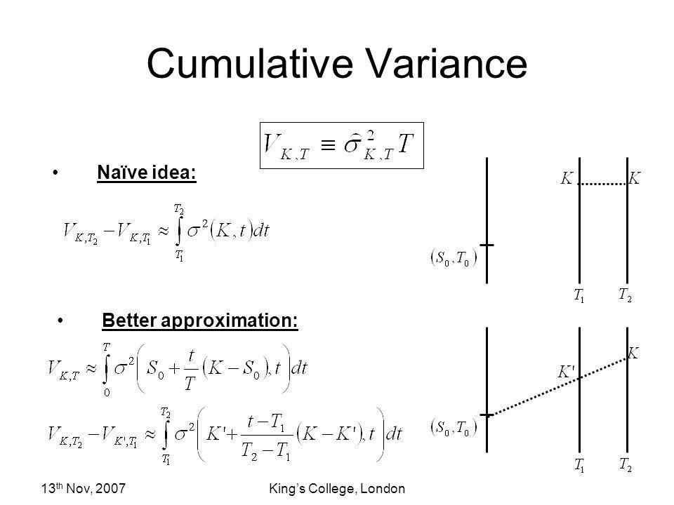 Cumulative Variance Naïve idea: Better approximation: 13th Nov, 2007