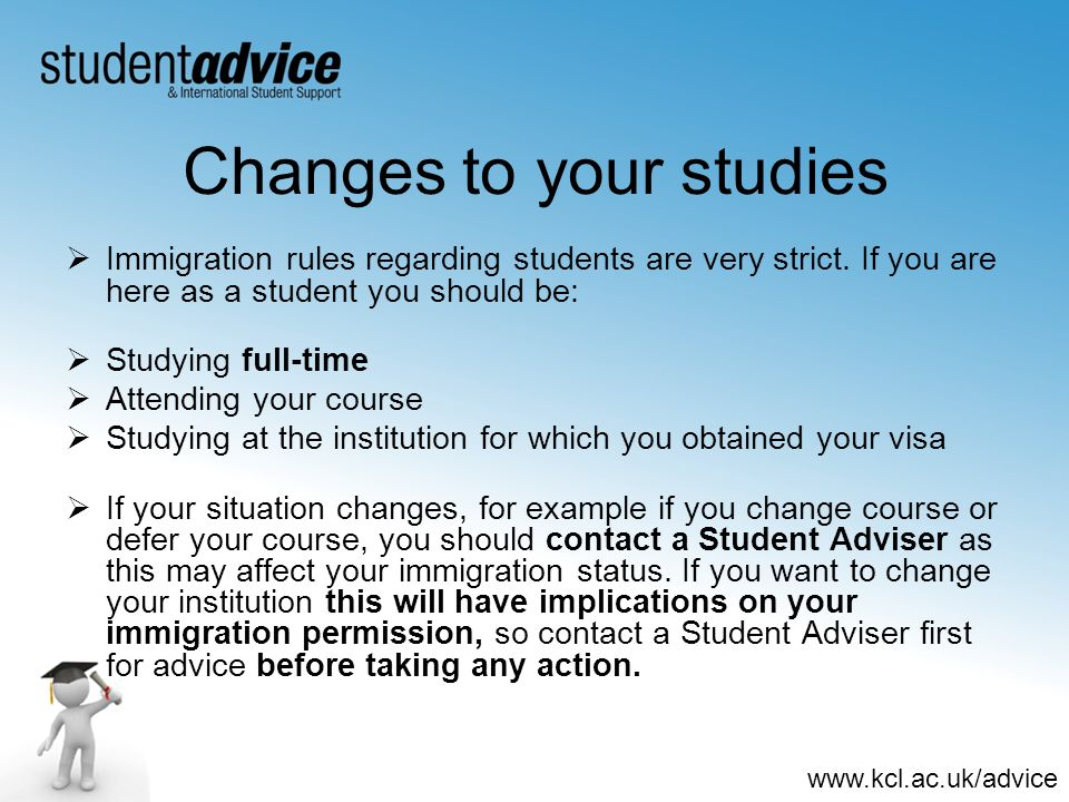 Changes to your studies