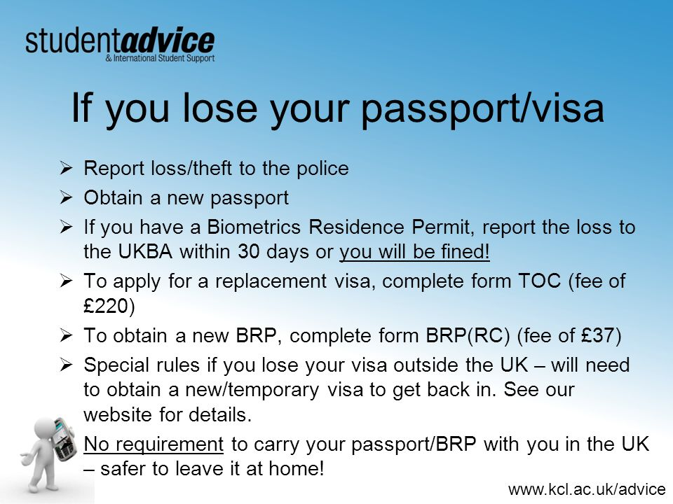 If you lose your passport/visa