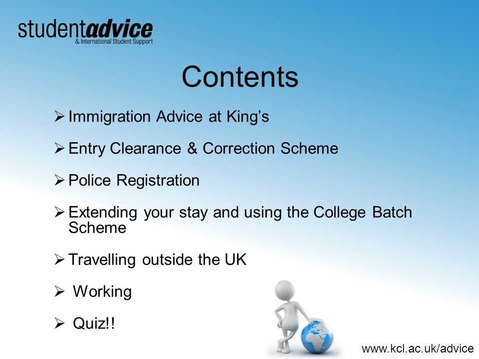 Contents Immigration Advice at King's