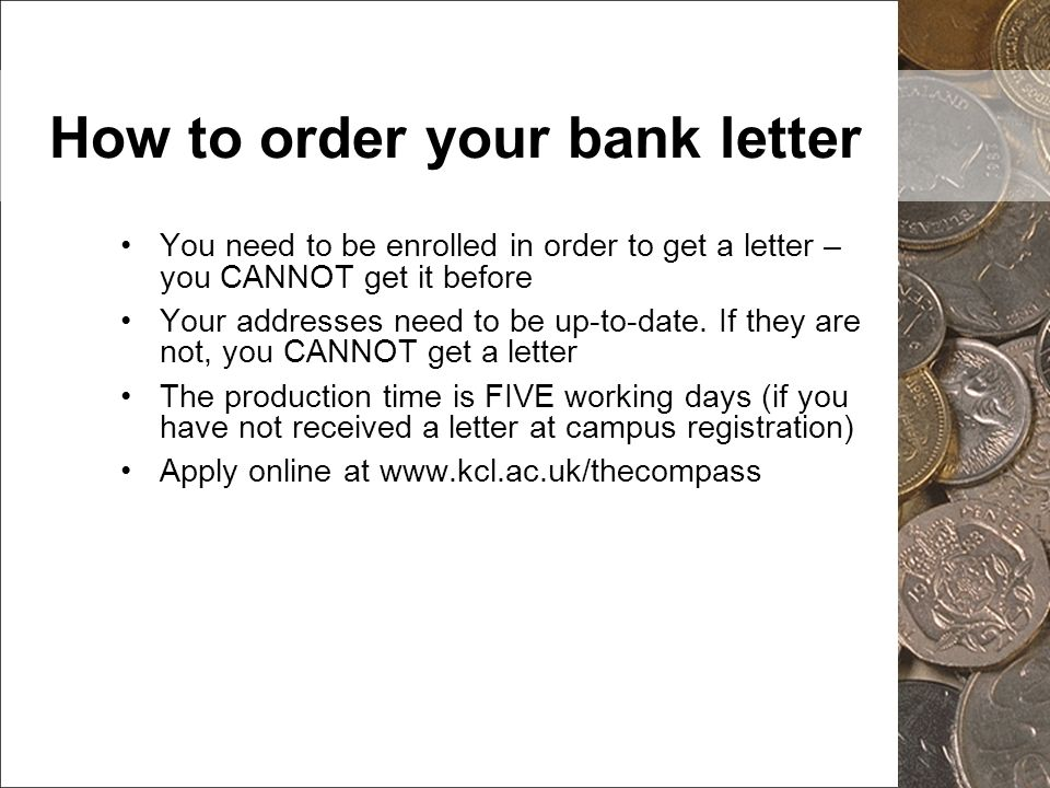 How to order your bank letter