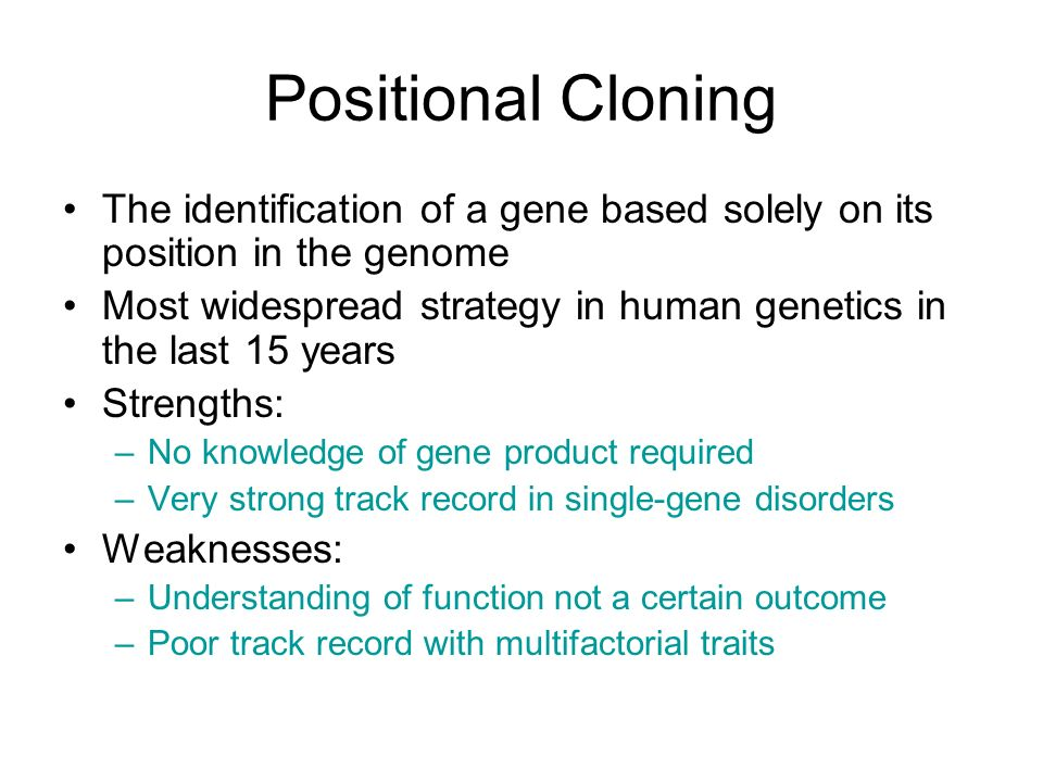 Positional Cloning The identification of a gene based solely on its position in the genome.