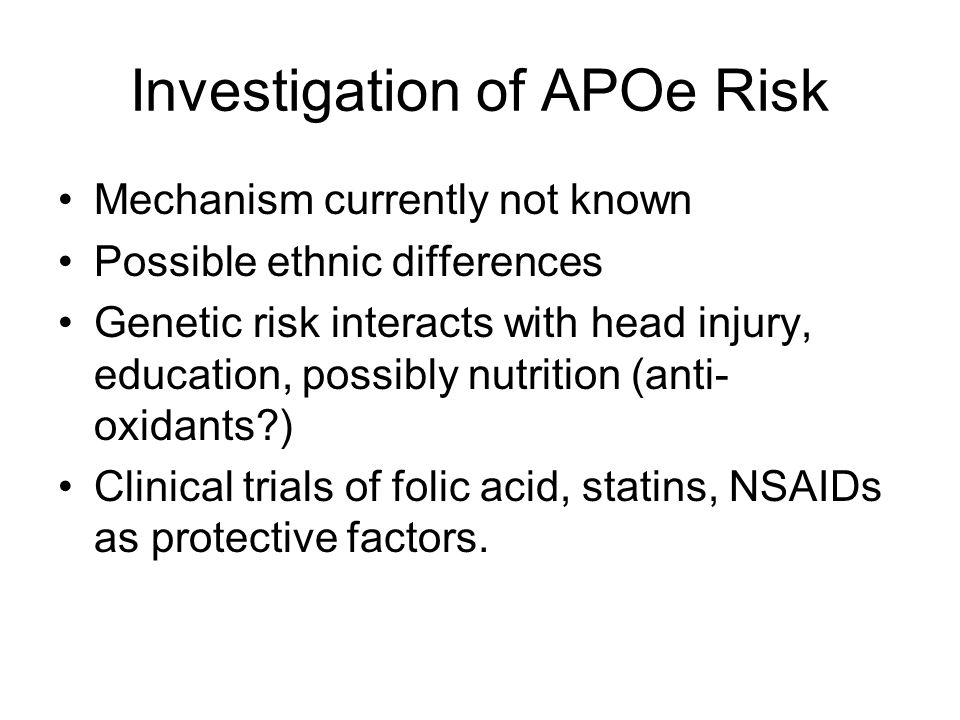 Investigation of APOe Risk