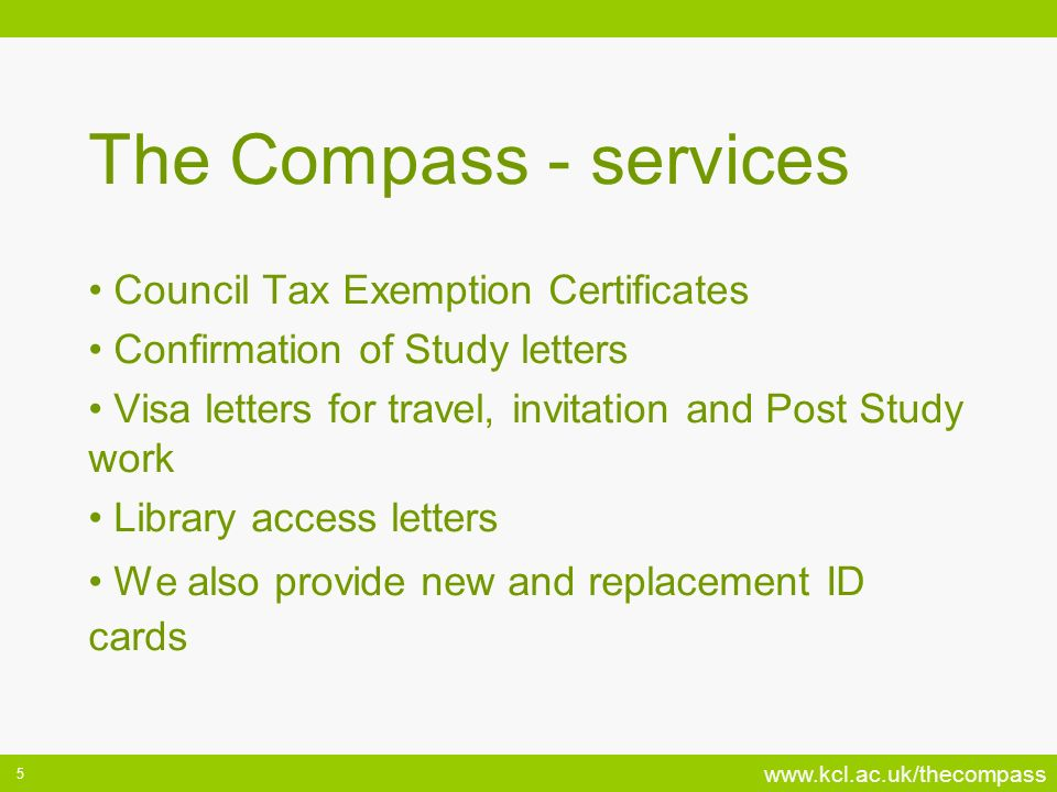 The Compass - services Council Tax Exemption Certificates