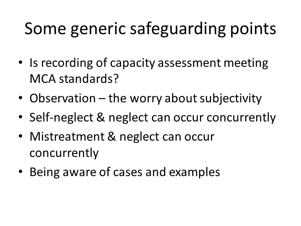 Some generic safeguarding points