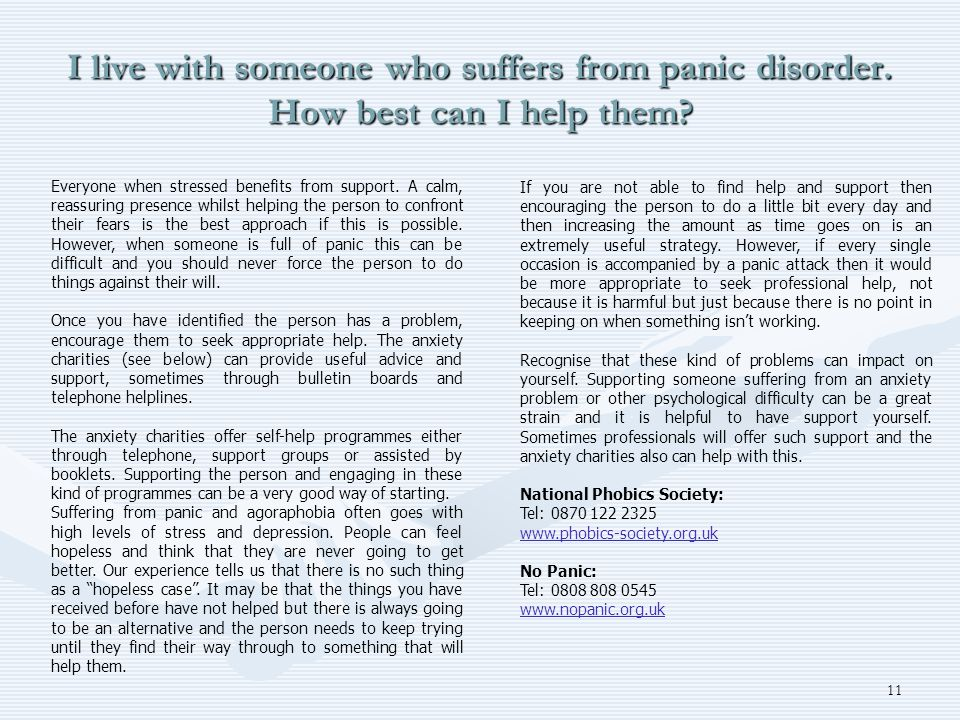 I live with someone who suffers from panic disorder