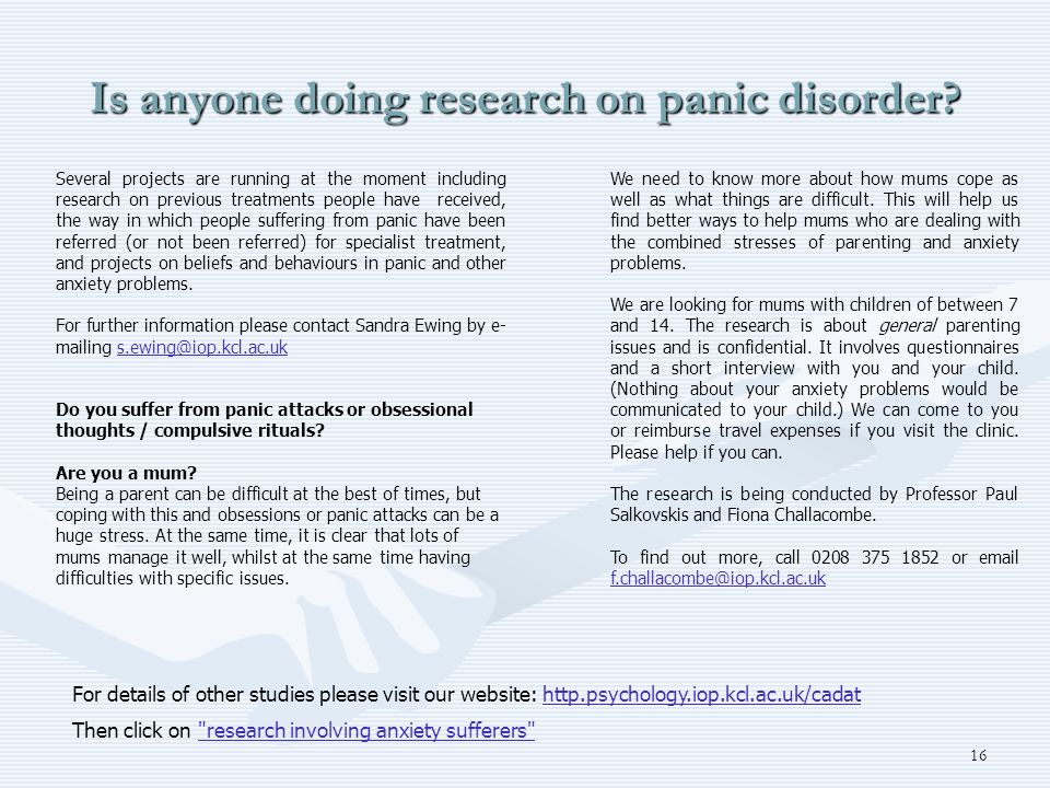 Is anyone doing research on panic disorder
