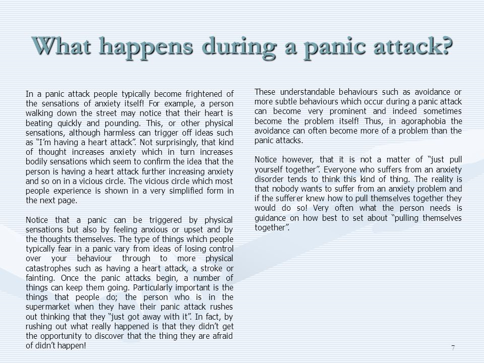 What happens during a panic attack