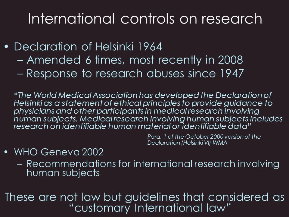 International controls on research