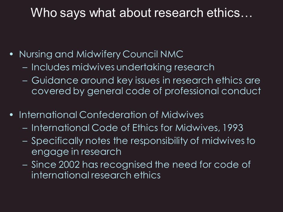 Who says what about research ethics…