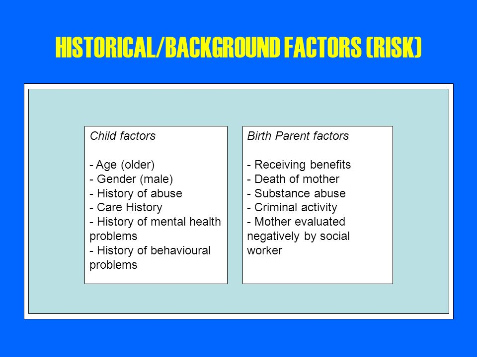 HISTORICAL/BACKGROUND FACTORS (RISK)