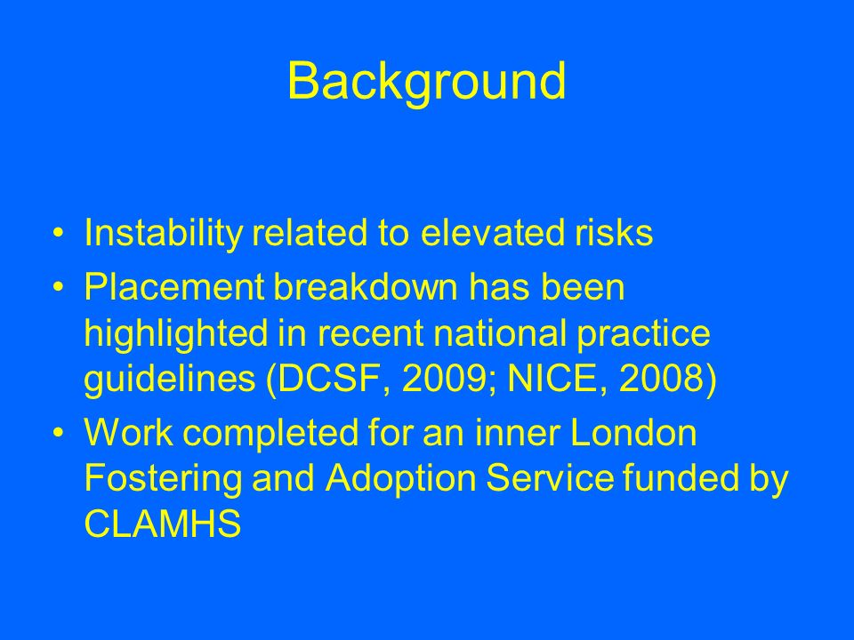 Background Instability related to elevated risks