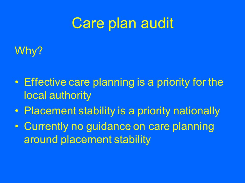 Care plan audit Why Effective care planning is a priority for the local authority. Placement stability is a priority nationally.