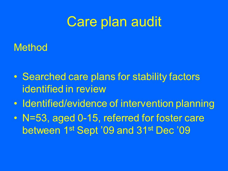 Care plan audit Method. Searched care plans for stability factors identified in review. Identified/evidence of intervention planning.