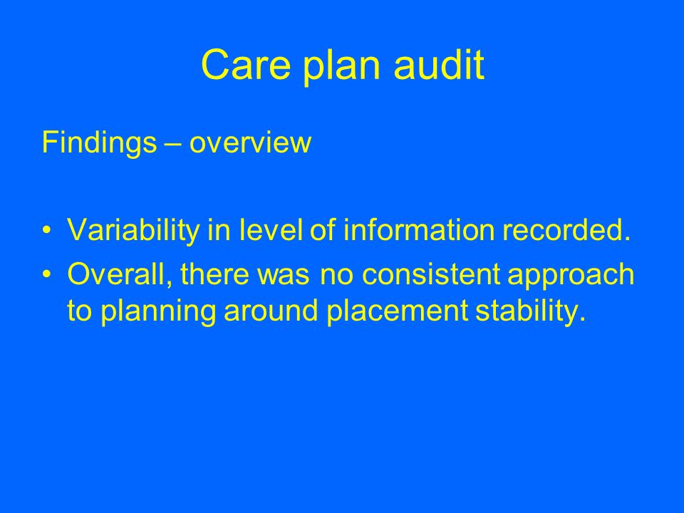 Care plan audit Findings – overview