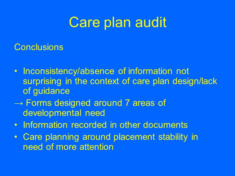 Care plan audit Conclusions