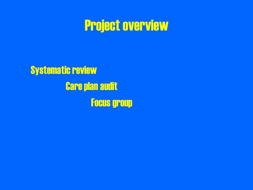 Project overview Systematic review Care plan audit Focus group