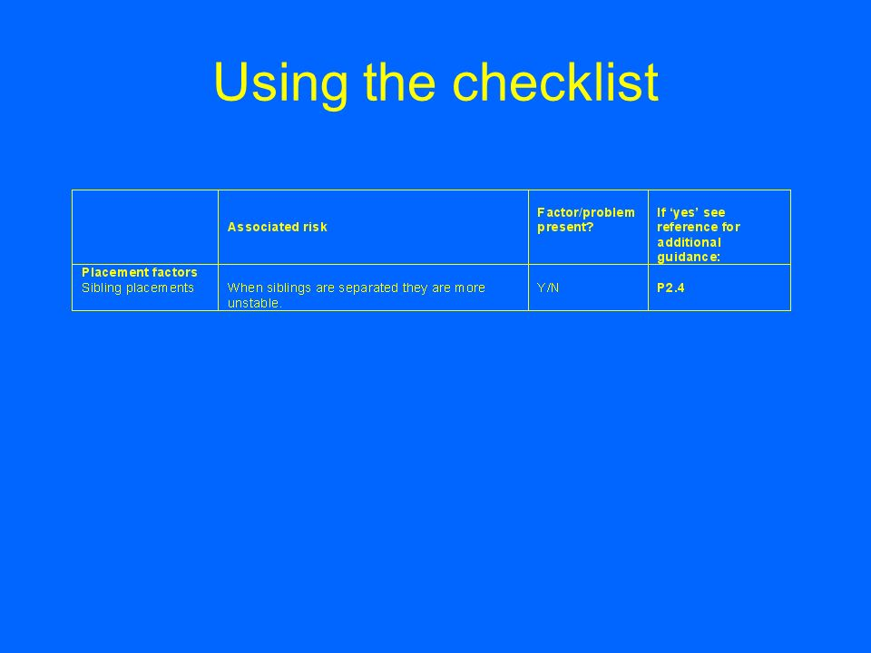 Using the checklist