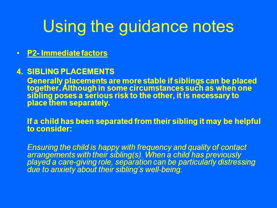 Using the guidance notes