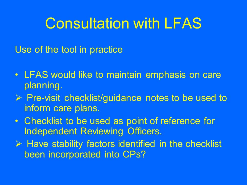 Consultation with LFAS