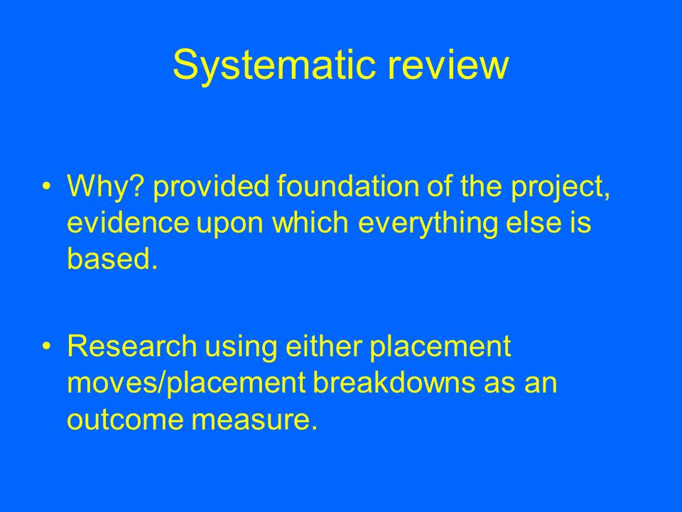 Systematic review Why provided foundation of the project, evidence upon which everything else is based.