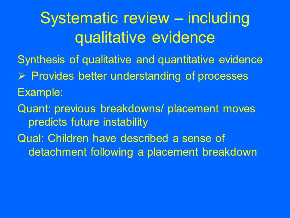 Systematic review – including qualitative evidence
