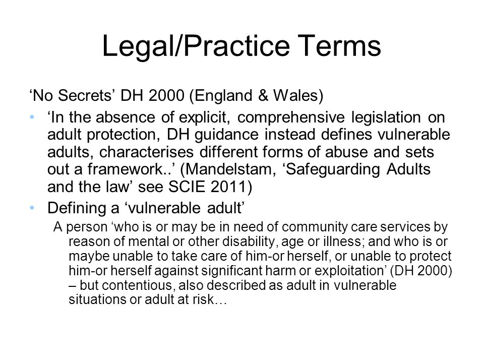 Legal/Practice Terms 'No Secrets' DH 2000 (England & Wales)